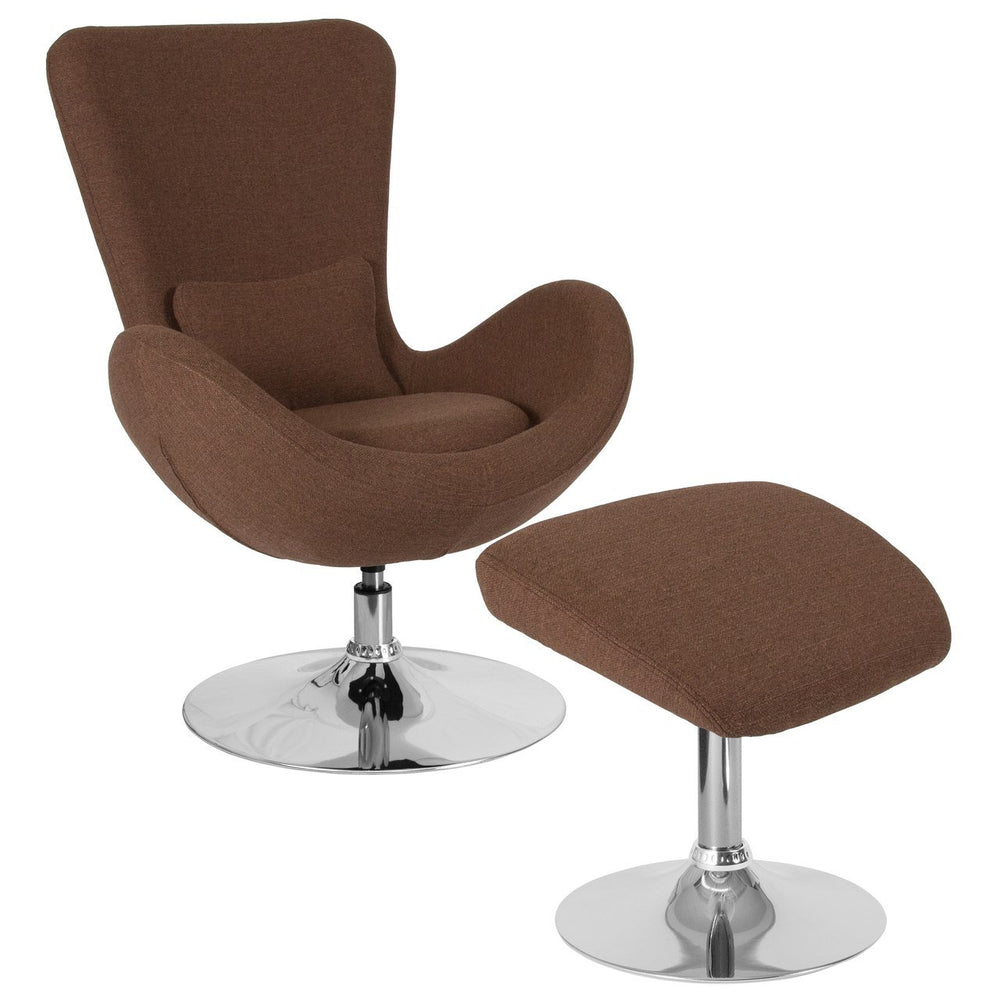 Flash Furniture CH-162430-CO-BN-FAB-GG Egg Series Brown Fabric Side Reception Chair with Ottoman