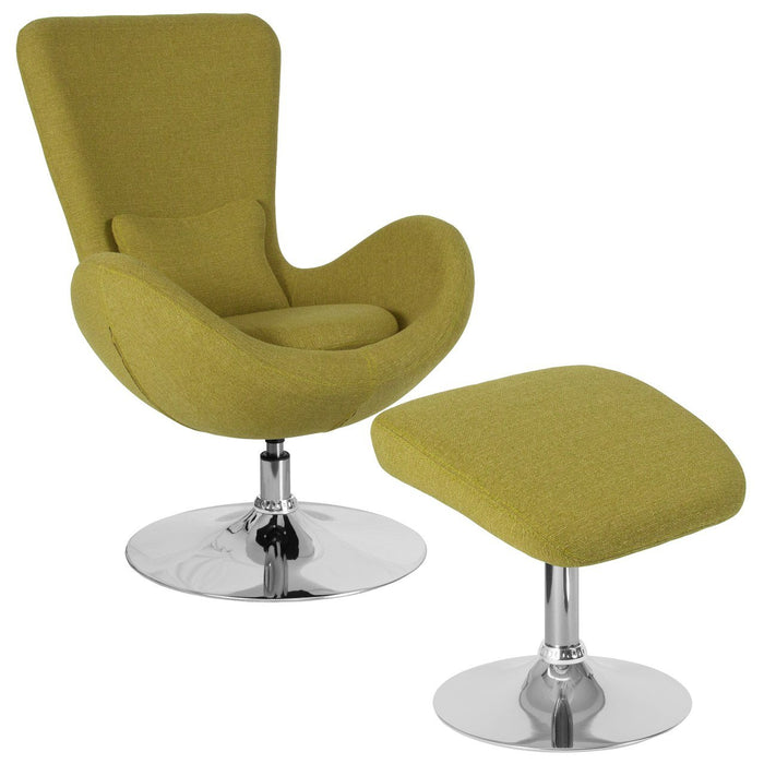 Flash Furniture CH-162430-CO-GN-FAB-GG Egg Series Green Fabric Side Reception Chair with Ottoman