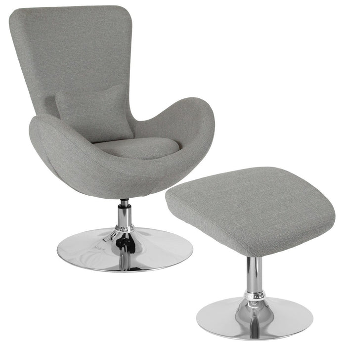 Flash Furniture CH-162430-CO-LTGY-FAB-GG Egg Series Light Gray Fabric Side Reception Chair with Ottoman