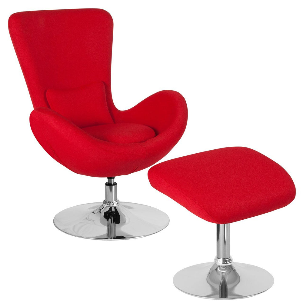 Flash Furniture CH-162430-CO-RED-FAB-GG Egg Series Red Fabric Side Reception Chair with Ottoman