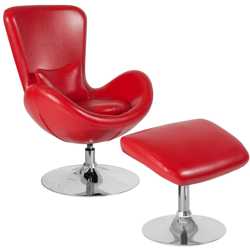 Flash Furniture CH-162430-CO-RED-LEA-GG Egg Series Red Leather Side Reception Chair with Ottoman
