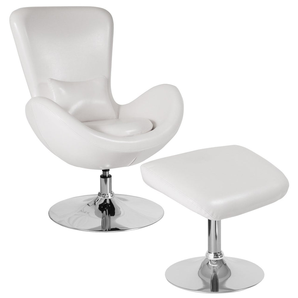 Flash Furniture CH-162430-CO-WH-LEA-GG Egg Series White Leather Side Reception Chair with Ottoman