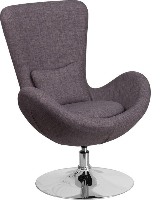 Flash Furniture CH-162430-DKGY-FAB-GG Egg Series Dark Gray Fabric Side Reception Chair