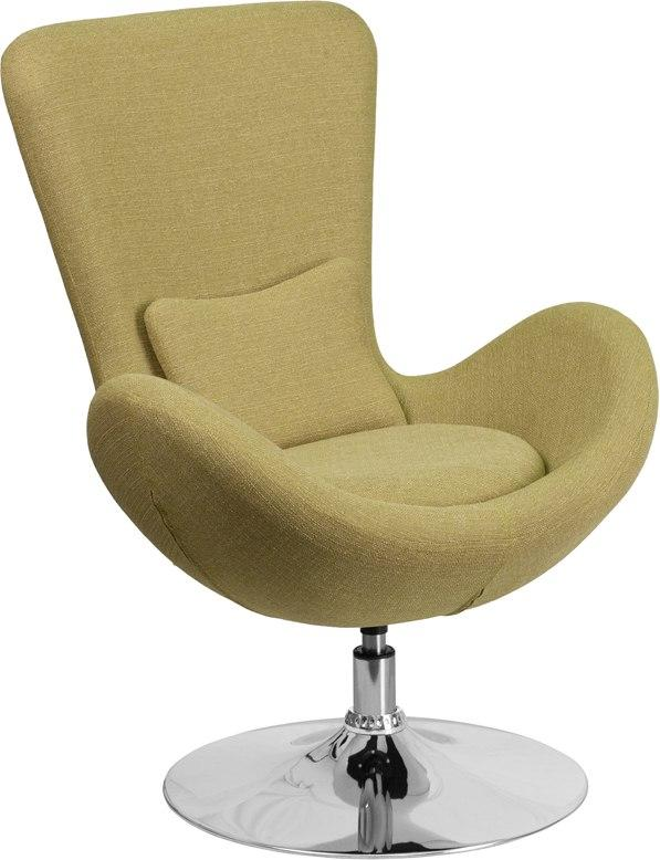 Flash Furniture CH-162430-GN-FAB-GG Egg Series Green Fabric Side Reception Chair