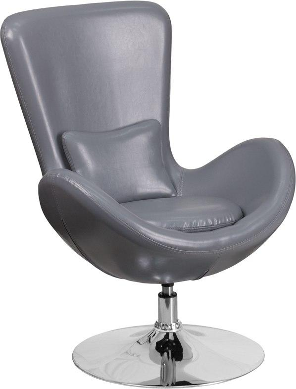 Flash Furniture CH-162430-GY-LEA-GG Egg Series Gray Leather Side Reception Chair