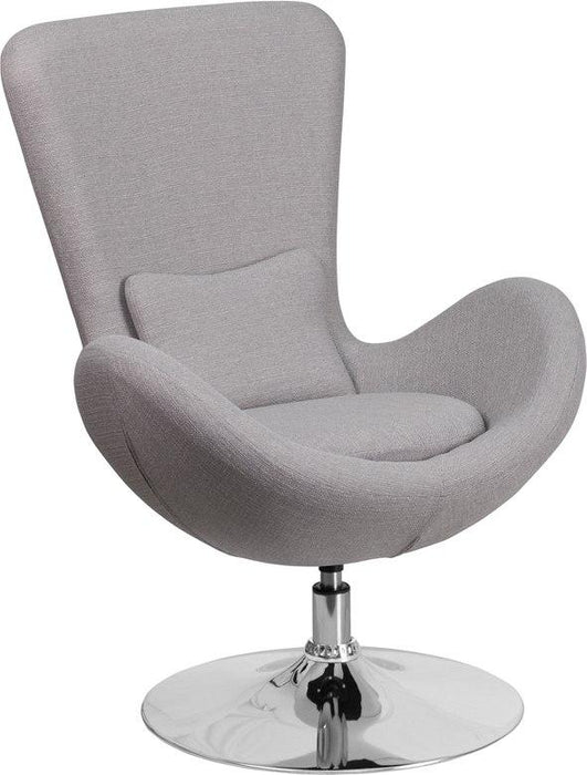 Flash Furniture CH-162430-LTGY-FAB-GG Egg Series Light Gray Fabric Side Reception Chair