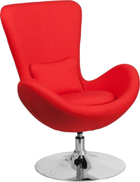 Flash Furniture CH-162430-RED-FAB-GG Egg Series Red Fabric Side Reception Chair