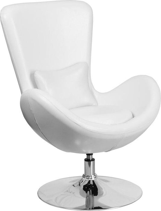 Flash Furniture CH-162430-WH-LEA-GG Egg Series White Leather Side Reception Chair