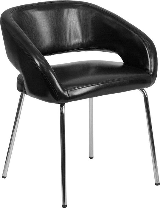 Flash Furniture CH-162731-BK-GG Fusion Series Contemporary Black Leather Side Reception Chair