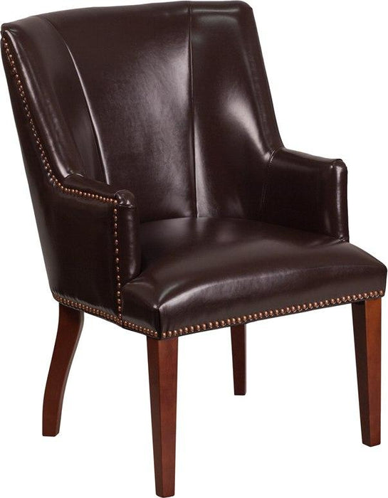 Flash Furniture CH-162930-BN-GG HERCULES Sculpted Comfort Series Brown Leather Side Reception Chair