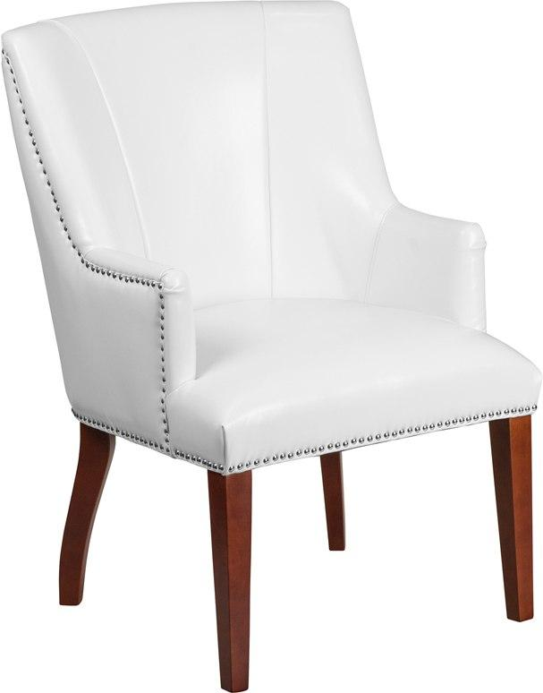 Flash Furniture CH-162930-WH-GG HERCULES Sculpted Comfort Series White Leather Side Reception Chair