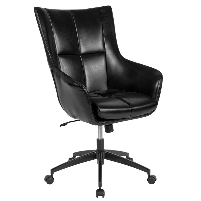 Flash Furniture CH-177240-1-BK-GG Barcelona Home and Office Upholstered High Back Chair in Black Leather