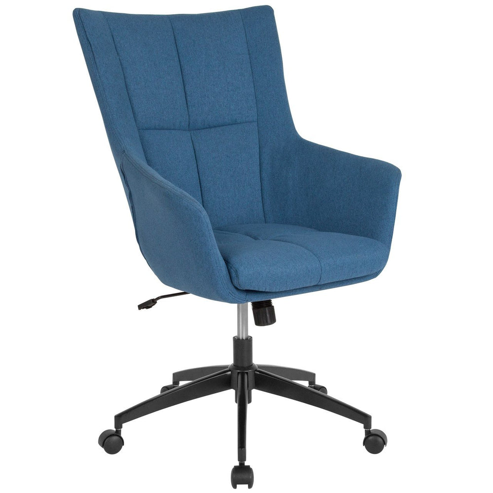 Flash Furniture CH-177240-1-BLU-F-GG Barcelona Home and Office Upholstered High Back Chair in Blue Fabric