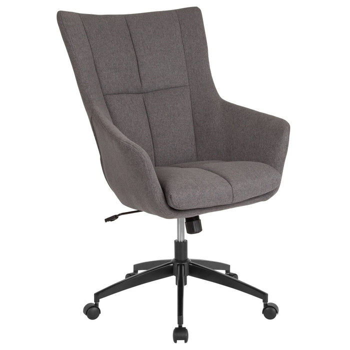 Flash Furniture CH-177240-1-DGY-F-GG Barcelona Home and Office Upholstered High Back Chair in Dark Gray Fabric