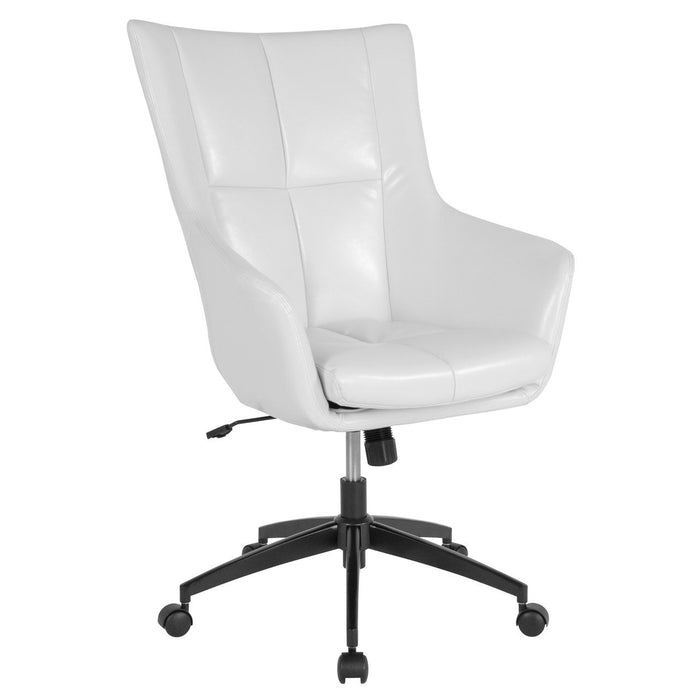 Flash Furniture CH-177240-1-WH-GG Barcelona Home and Office Upholstered High Back Chair in White Leather