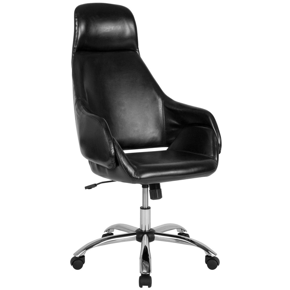 Flash Furniture CH-177275-BK-GG Marbella Home and Office Upholstered High Back Chair in Black Leather