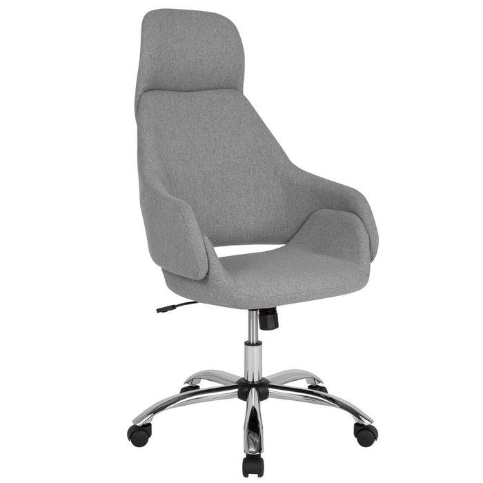 Flash Furniture CH-177275-LGY-F-GG Marbella Home and Office Upholstered High Back Chair in Light Gray Fabric