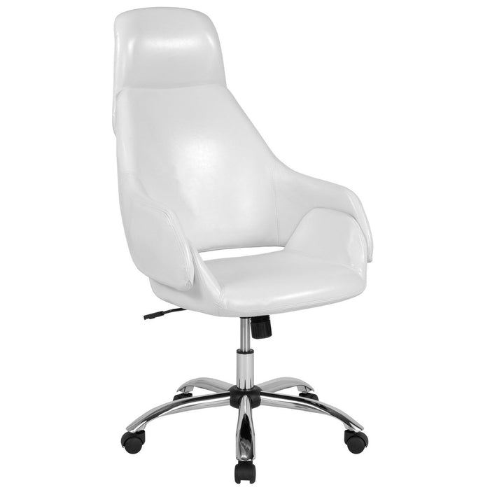 Flash Furniture CH-177275-WH-GG Marbella Home and Office Upholstered High Back Chair in White Leather