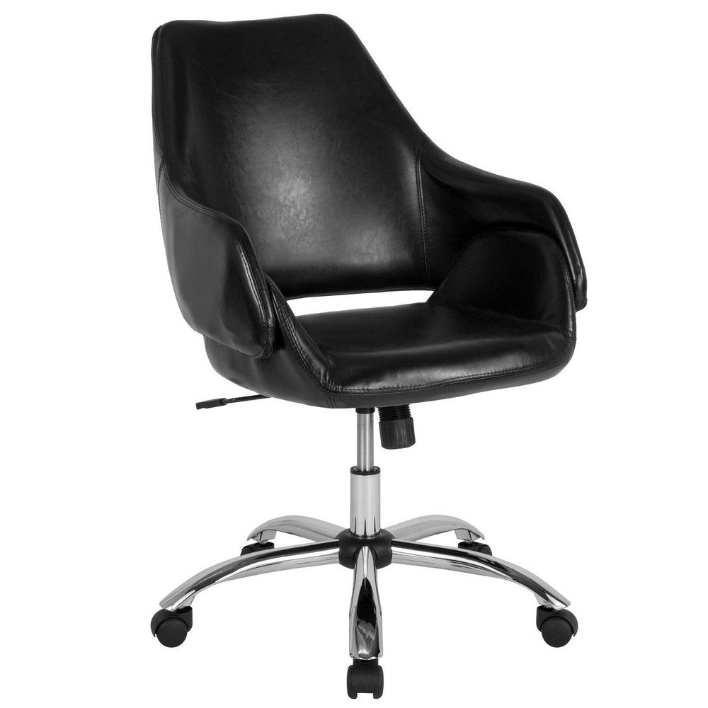 Flash Furniture CH-177280-BK-GG Madrid Home and Office Upholstered Mid-Back Chair in Black Leather