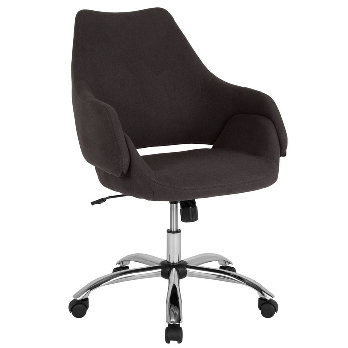 Flash Furniture CH-177280-BLK-F-GG Madrid Home and Office Upholstered Mid-Back Chair in Black Fabric