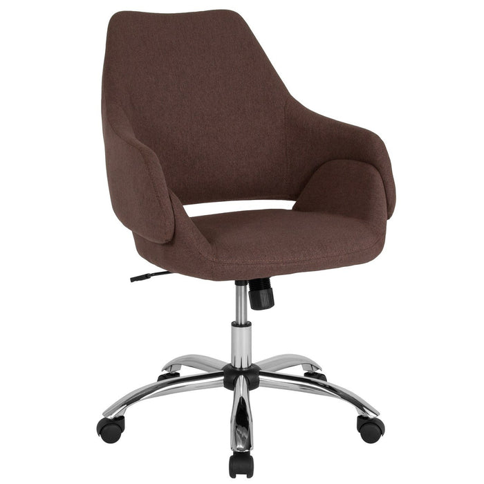 Flash Furniture CH-177280-BR-F-GG Madrid Home and Office Upholstered Mid-Back Chair in Brown Fabric