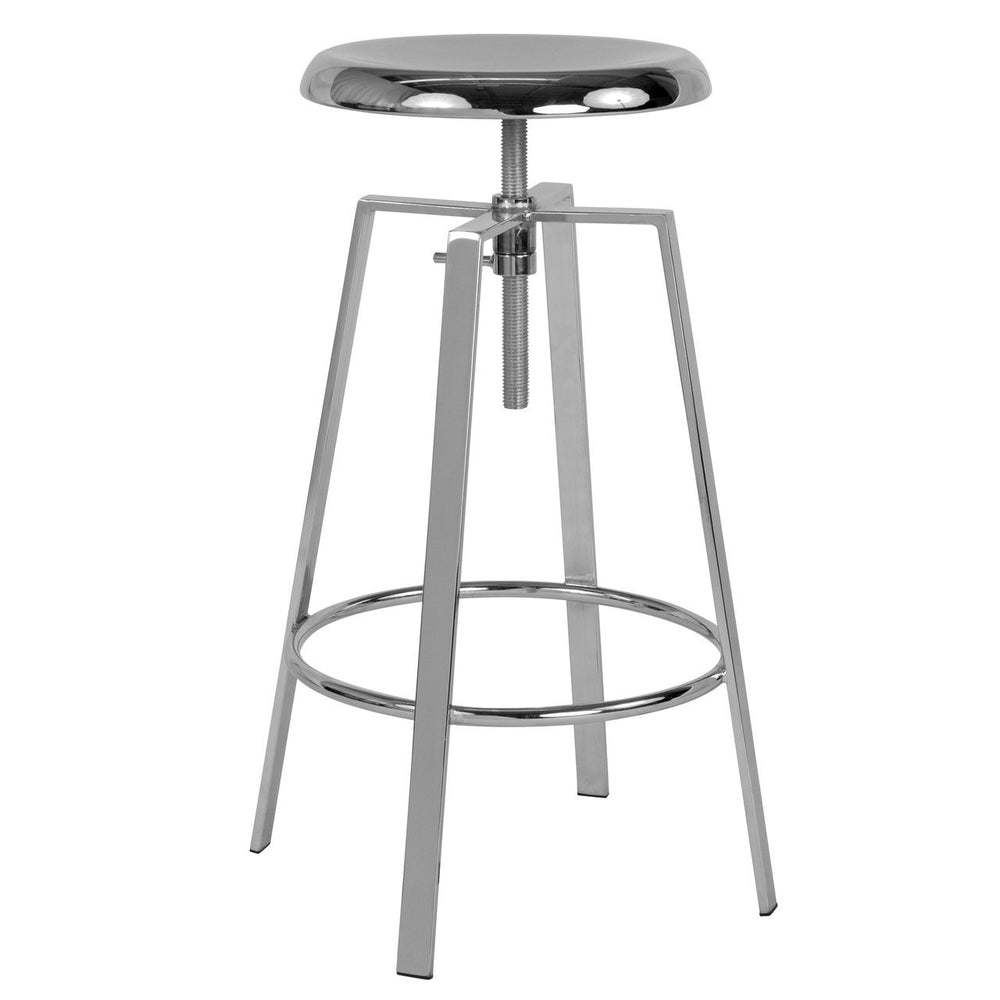 Flash Furniture CH-181070-26S-CHR-GG Toledo Industrial Style Barstool with Swivel Lift Adjustable Height Seat in Chrome Finish