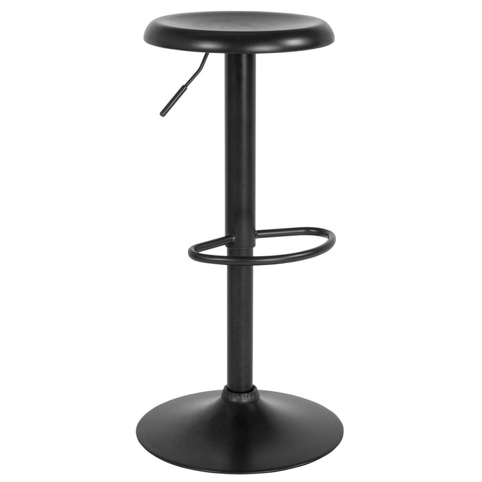 Flash Furniture CH-181220-BK-GG Madrid Series Adjustable Height Retro Barstool in Black Finish