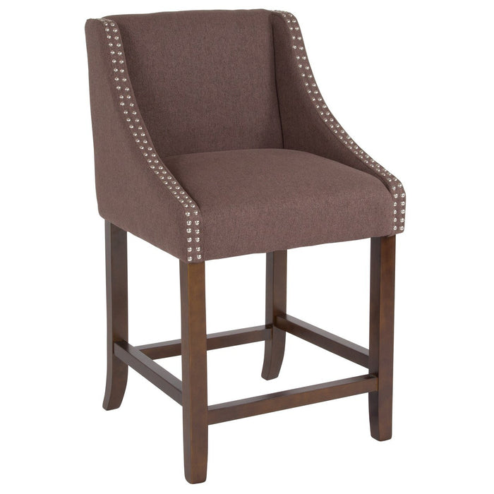 "Flash Furniture CH-182020-24-BN-F-GG Carmel Series 24"" High Transitional Walnut Counter Height Stool with Accent Nail Trim in Brown Fabric"