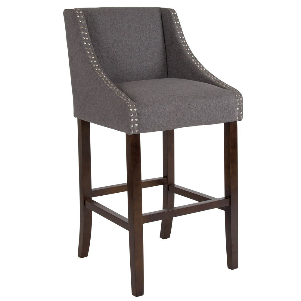 "Flash Furniture CH-182020-30-DKGY-F-GG Carmel Series 30"" High Transitional Walnut Barstool with Accent Nail Trim in Dark Gray Fabric"