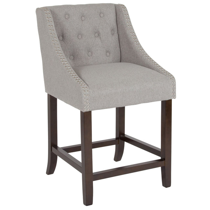 "Flash Furniture CH-182020-T-24-LTGY-F-GG Carmel Series 24"" High Transitional Tufted Walnut Counter Height Stool with Accent Nail Trim in Light Gray Fabric"