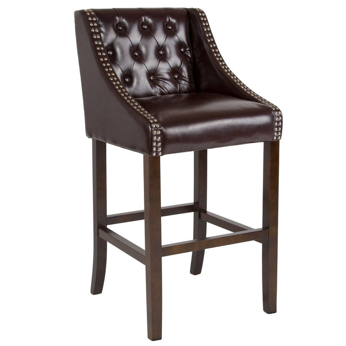 "Flash Furniture CH-182020-T-30-BN-GG Carmel Series 30"" High Transitional Tufted Walnut Barstool with Accent Nail Trim in Brown Leather"