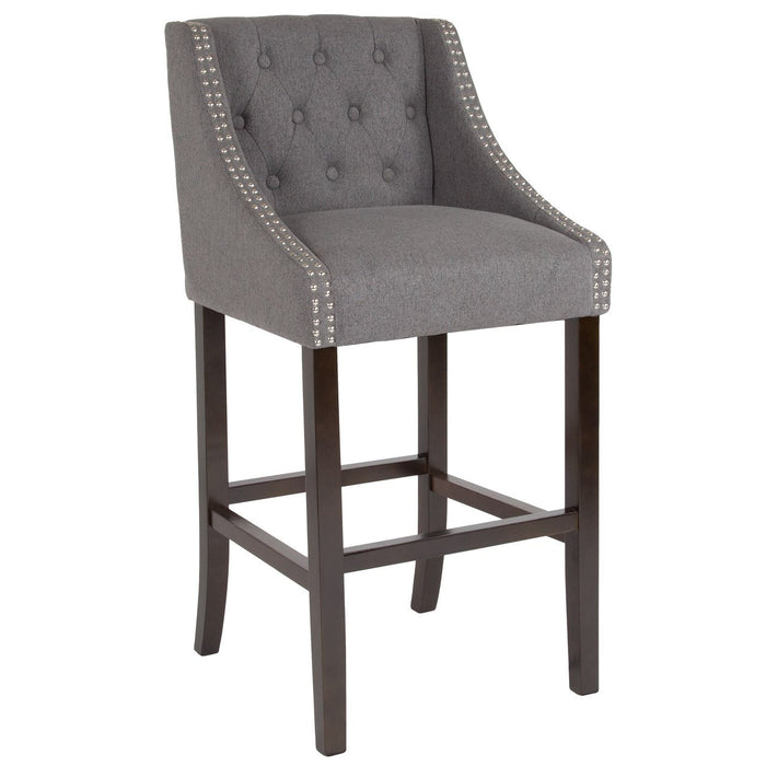 "Flash Furniture CH-182020-T-30-DKGY-F-GG Carmel Series 30"" High Transitional Tufted Walnut Barstool with Accent Nail Trim in Dark Gray Fabric"