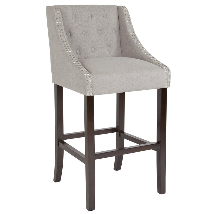 "Flash Furniture CH-182020-T-30-LTGY-F-GG Carmel Series 30"" High Transitional Tufted Walnut Barstool with Accent Nail Trim in Light Gray Fabric"