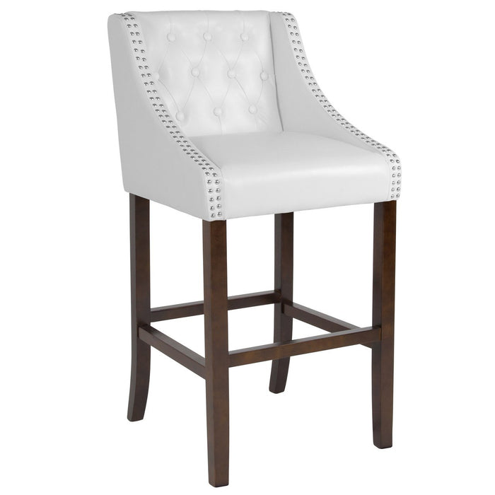 "Flash Furniture CH-182020-T-30-WH-GG Carmel Series 30"" High Transitional Tufted Walnut Barstool with Accent Nail Trim in White Leather"
