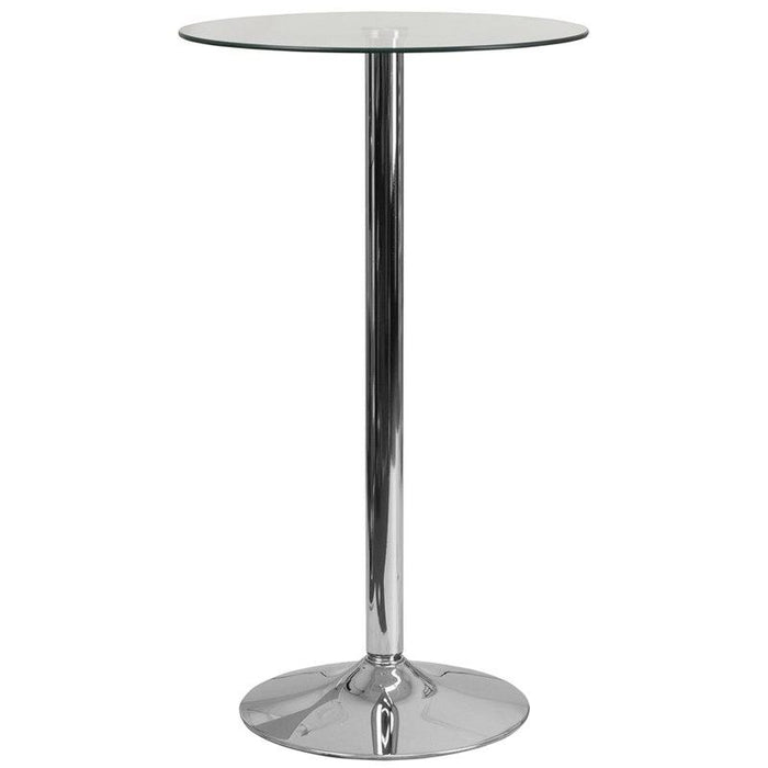 Flash Furniture CH-3-GG 23.75'' Round Glass Table with 41.75''H Chrome Base