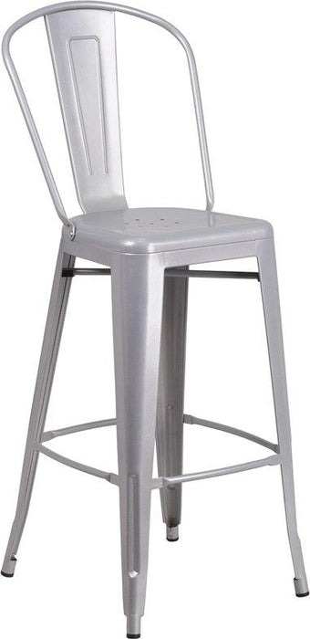 Flash Furniture CH-30STOOL-SIL-GG 30'' High Silver Metal Indoor-Outdoor Barstool with Back