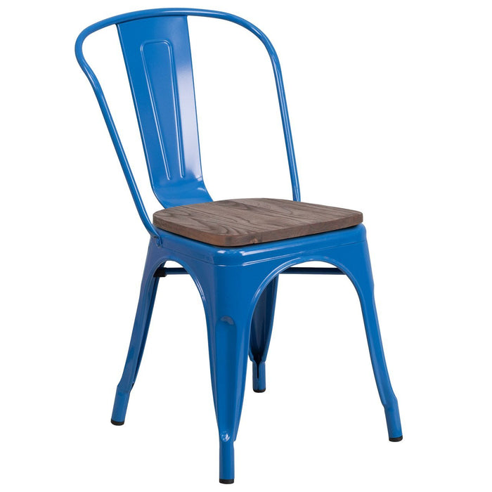 Flash Furniture CH-31230-BL-WD-GG Blue Metal Stackable Chair with Wood Seat