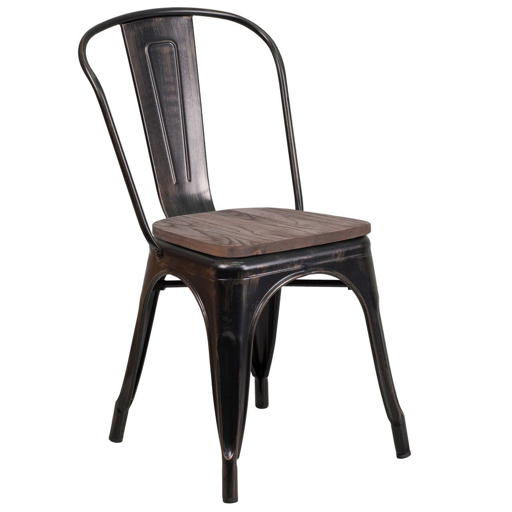 Flash Furniture CH-31230-BQ-WD-GG Black-Antique Gold Metal Stackable Chair with Wood Seat