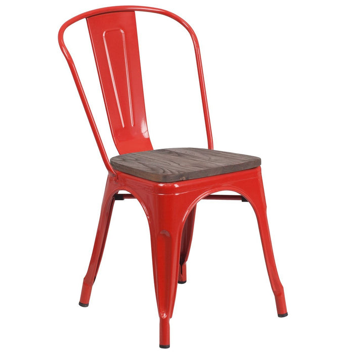 Flash Furniture CH-31230-RED-WD-GG Red Metal Stackable Chair with Wood Seat