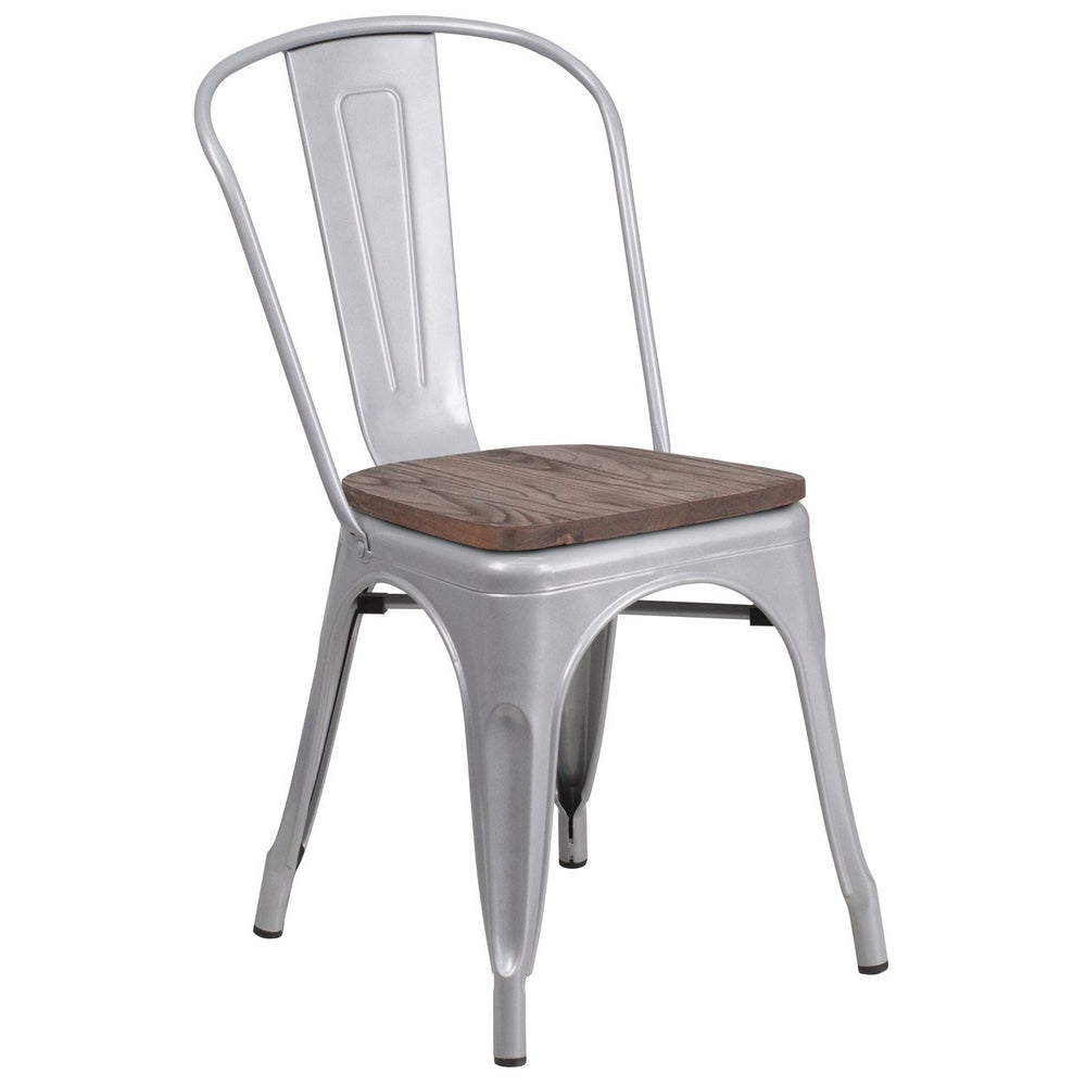 Flash Furniture CH-31230-SIL-WD-GG Silver Metal Stackable Chair with Wood Seat