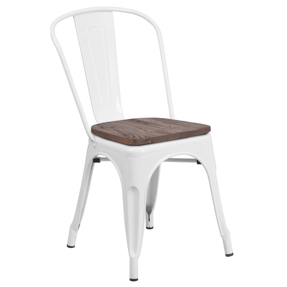 Flash Furniture CH-31230-WH-WD-GG White Metal Stackable Chair with Wood Seat