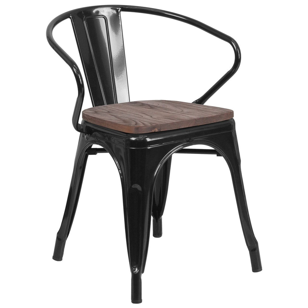 Flash Furniture CH-31270-BK-WD-GG Black Metal Chair with Wood Seat and Arms