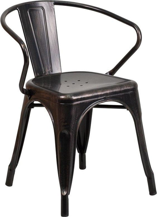 Flash Furniture CH-31270-BQ-GG Black-Antique Gold Metal Indoor-Outdoor Chair with Arms