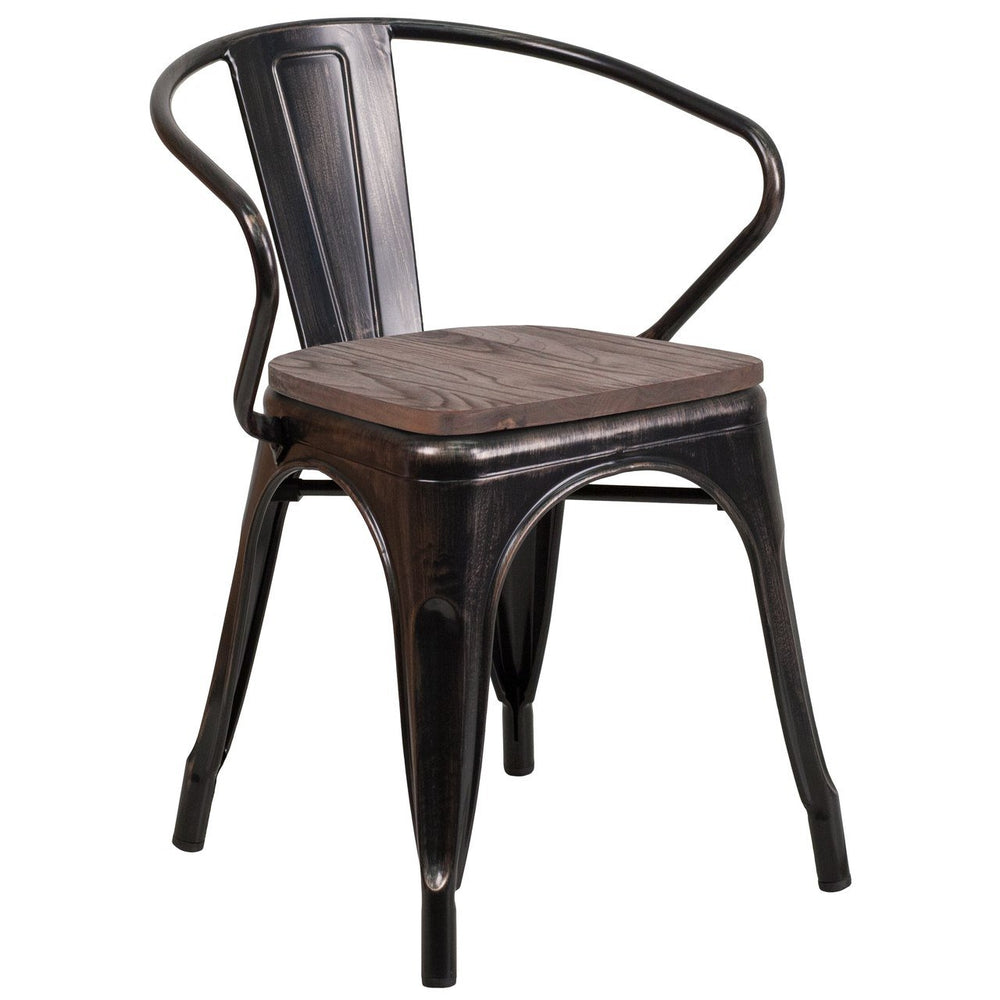 Flash Furniture CH-31270-BQ-WD-GG Black-Antique Gold Metal Chair with Wood Seat and Arms