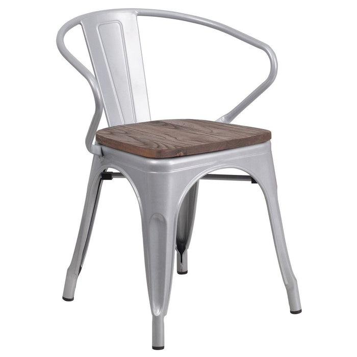 Flash Furniture CH-31270-SIL-WD-GG Silver Metal Chair with Wood Seat and Arms