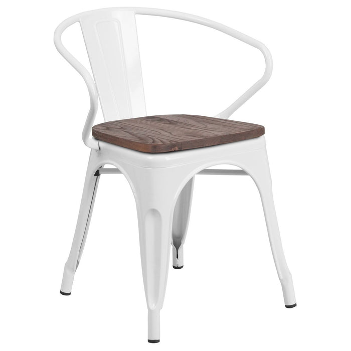 Flash Furniture CH-31270-WH-WD-GG White Metal Chair with Wood Seat and Arms