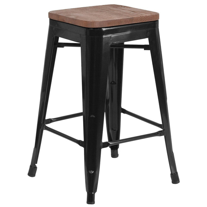 "Flash Furniture CH-31320-24-BK-WD-GG 24"" High Backless Black Metal Counter Height Stool with Square Wood Seat"