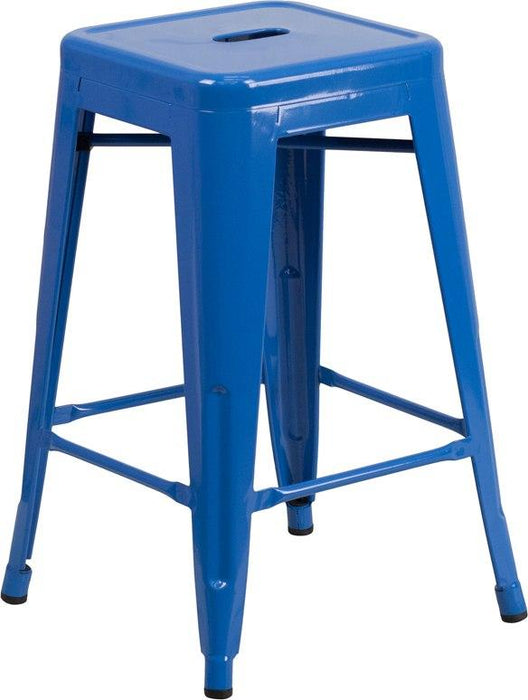 Flash Furniture CH-31320-24-BL-GG 24'' High Backless Blue Metal Indoor-Outdoor Counter Height Stool with Square Seat