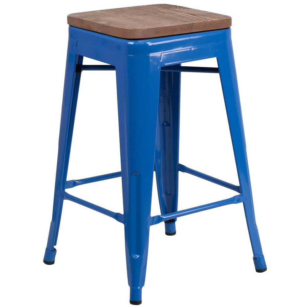 "Flash Furniture CH-31320-24-BL-WD-GG 24"" High Backless Blue Metal Counter Height Stool with Square Wood Seat"