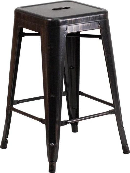 Flash Furniture CH-31320-24-BQ-GG 24'' High Backless Black-Antique Gold Metal Indoor-Outdoor Counter Height Stool with Square Seat